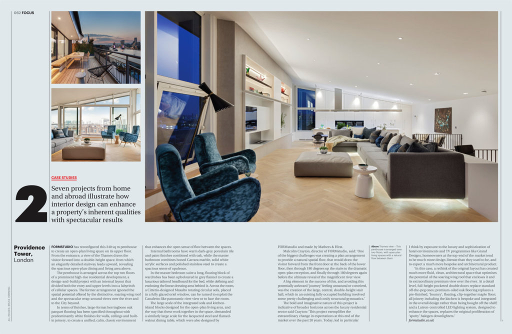 FORMstudio's Bermondsey Wall Penthouse featured in FX Magazine