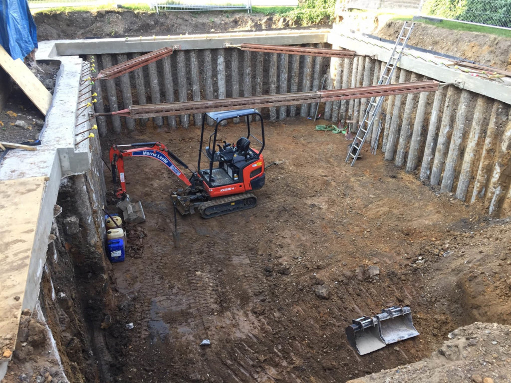 Basement excavations completed at FORMstudio's new-build house in Putney