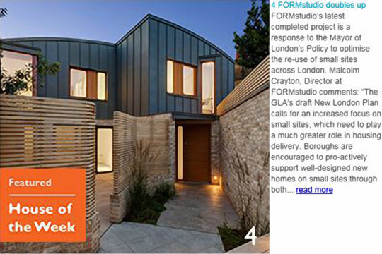 FORMstudio doubles up: our Benbow Yard project is House of the Week on World Architecture News